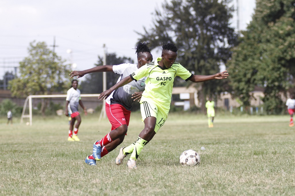 Gaspo vs Kibera Girls Soccer Academy action